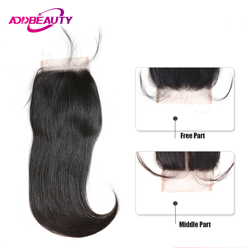 Swiss HD Transparent 4x4 Lace Closure Straight Remy Brazilian Human Baby Hair Free Middle Part Natural