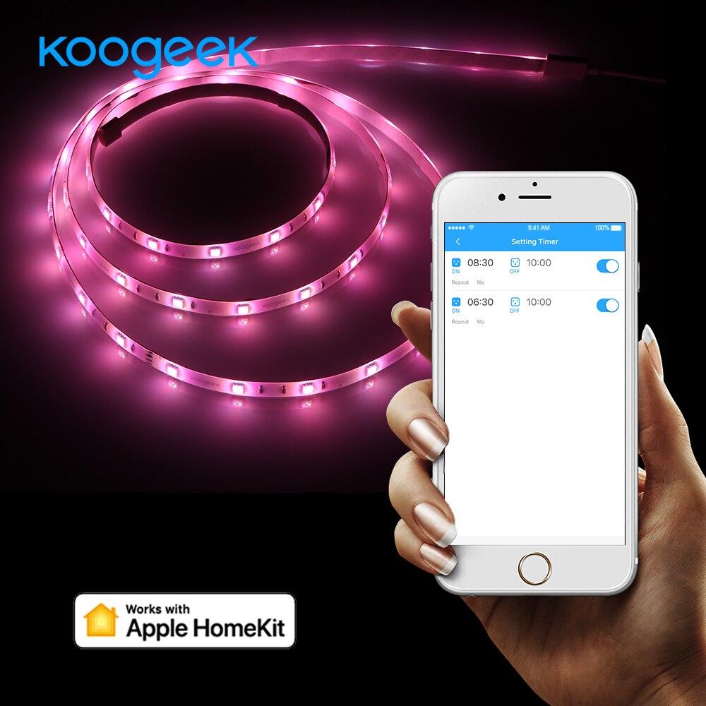 Koogeek 2m LED Flexible Strip Light Smart Home Wi-Fi LED Strip Light for Apple HomeKit Alexa Google Assistant 16 Million Colors 140f1142 devireg smart интеллектуальный с wi fi бежевый 16 а