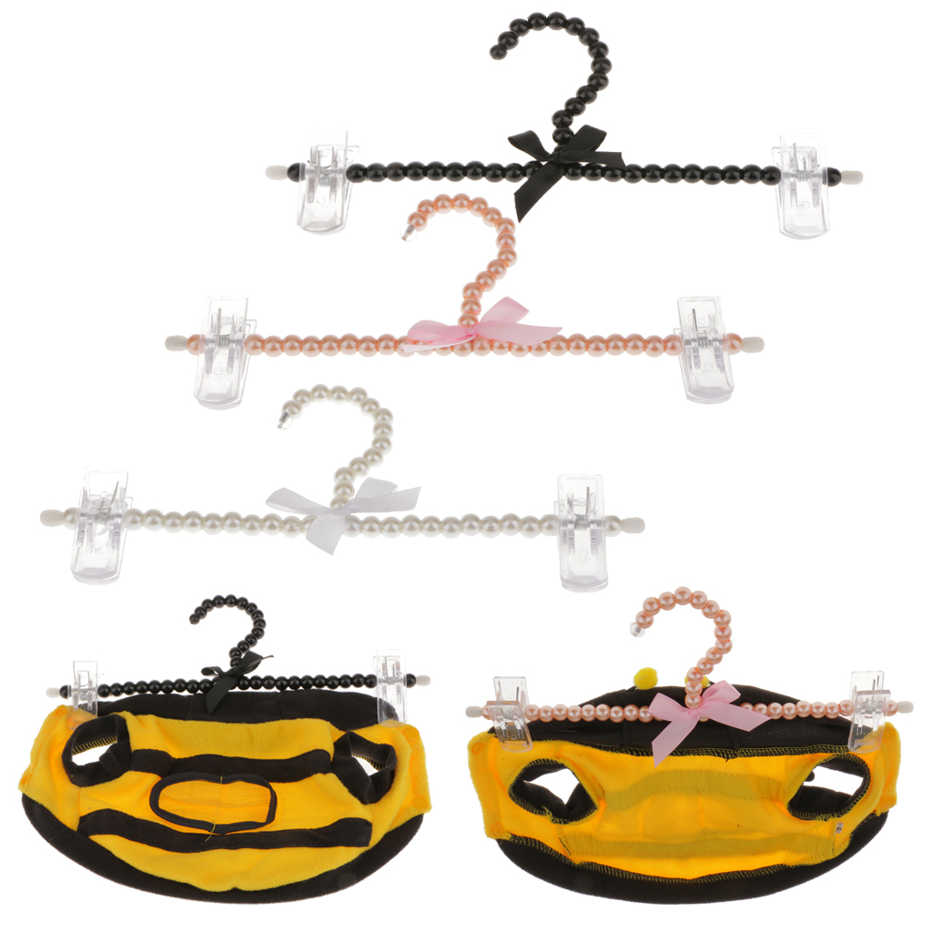 30cm Pearl Beaded Clothes Pants Hanger Trousers Dress Holder With Clip