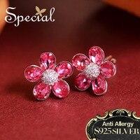 Special New Fashion 925 Sterling Silver Stud Earrings CZ Diamond Flower Ear Pins Rhinestones Jewelry Gifts