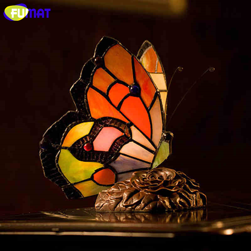FUMAT Butterfly Table Lamp Stained Glass Butterfly Light For Living Loom Bedside Lamps Creative Butterfly Lampshade Table Lights fumat classic table lamp european baroque stained glass lights for living room bedside table light creative art led table lamps