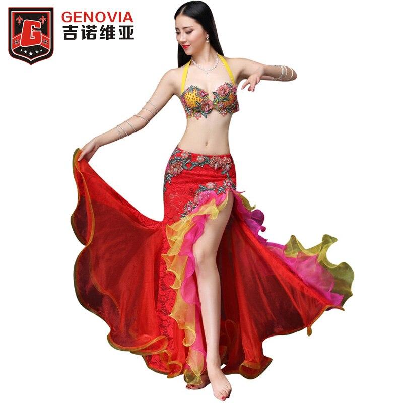 Для женщин вышивка бисер Professional брючные костюмы роскошные этап и Одежда для танцев 2 шт. бюстгальтер юбка пояс размеры s, m, l