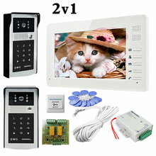Free Shipping 2 HD 700lines Cameras Password And RFID Cards Unlock Color 7″ Monitors Video Door Phone Intercom Systems In Stock!