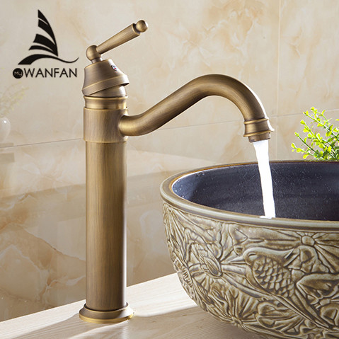 Free shipping Tall Design Antique Brass water tap Bathroom Basin Sink Faucet Vanity Brass Faucet Water