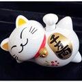 Estilo del coche de la Energía Solar Lucky Cat Horizontal Tipo de Giro de la Mano mascota de Juguete Kawaii Cartoon Lazy Cat Animal Lindo Coche de la Muñeca ornamento