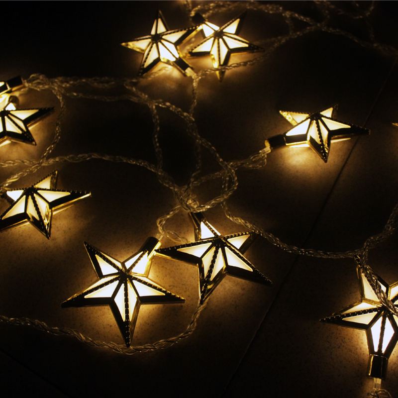 5m Christmas Window Silver/Gold Plastic Stars LED String Lights Garden Decorations Lamps ...