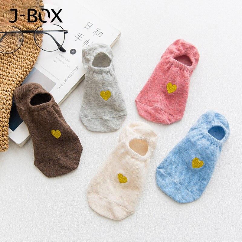 5 Pairs Damen Frühling Sommer Socken Baumwolle Cartoon Liebe Herz Stealth Frauen Pantoffel Socken, Schöne Mädchen Socken Hohe Sicherheit