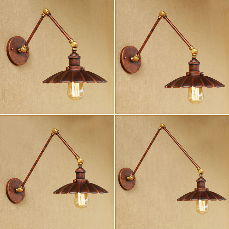 Loft Style Swing Arm Edison Wall Sconce Bedside Wall Lamp Antique Iron Vintage Wall Light Fixtures For Home Indoor Lighting loft style iron edison wall sconce industrial lamp wheels vintage wall light fixtures antique indoor lighting lampara pared