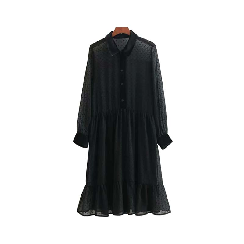 Vadim women ruffled dot pattern chiffon dress see through long sleeve pleated sweet black knee length dresses vestidos QA777
