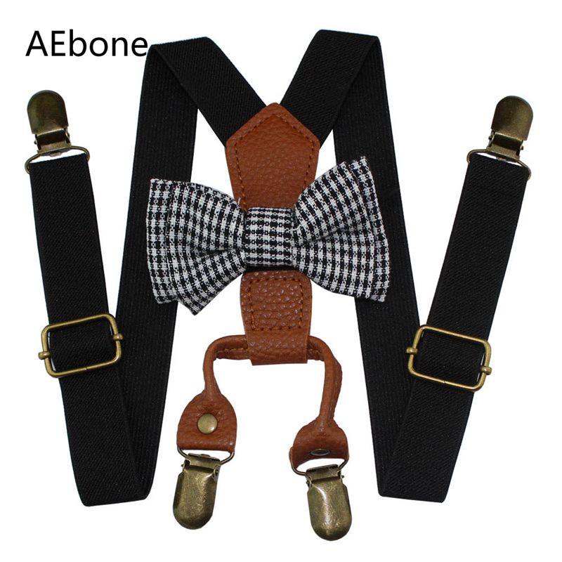 AEbone Baby Boys Suspenders And Bow Ties 4 Clip Bowtie Braces For Children Girls Pink Navy Black Suspenders Pants Sus40