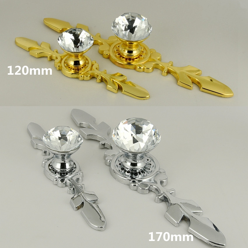 Modern fashion glass crystal wine cabinet kitchen cabinet door handles silver golden drawer tv table pulls knobs 120mm 170mm 33mm glass kitchen cabinet handles clear crystal drawer knobs silver tv table dresser cuoboard furniture door pulls knobs