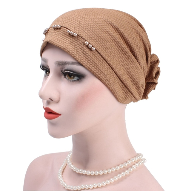 d3818ee6a54 Women Pearl Flower Muslim Headscarf Flower Elastic Turban Cotton Hats  Indian Lady Chemotherapy Head Cover Wraps Beanie