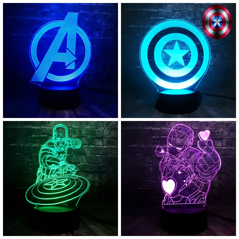 Hot Movie Marvel Hero Avengers Captain America Shield Iron Man 7 Color USB Charge Night Light Baby Produce Decor Mini Lamp Gift