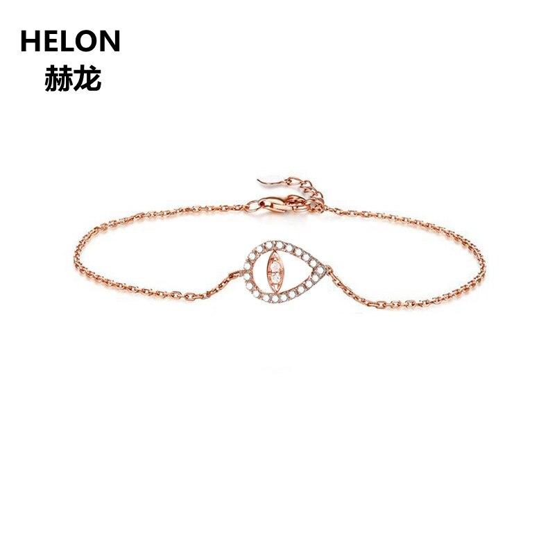 0.11ct SI/H Natural Diamond Bracelet Chain Solid 18k Rose Gold Engagement Wedding Bracelet