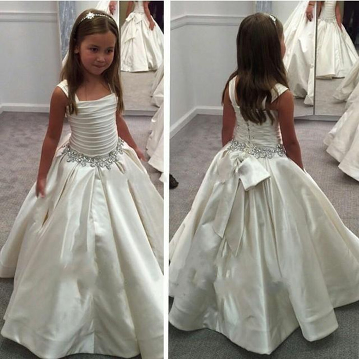 White Ivory Flower Girl Dress for Wedding Puffy Gown Solid Beaded Waist Girls First Communion Dress Vestido De Comunion hot flower girl dress white a line bow sash sleeveless solid o neck girls first communion dress hot sale vestido de comunion