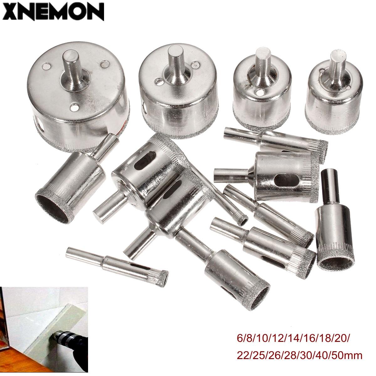 XNEMON 15Pcs 6mm-50mm Diamond Holesaw Drill Bit Tool for Ceramic Porcelain Glass 6/8/10/12/14/16/18/20/22/25/26/28/30/40/50m diamond tools for granite