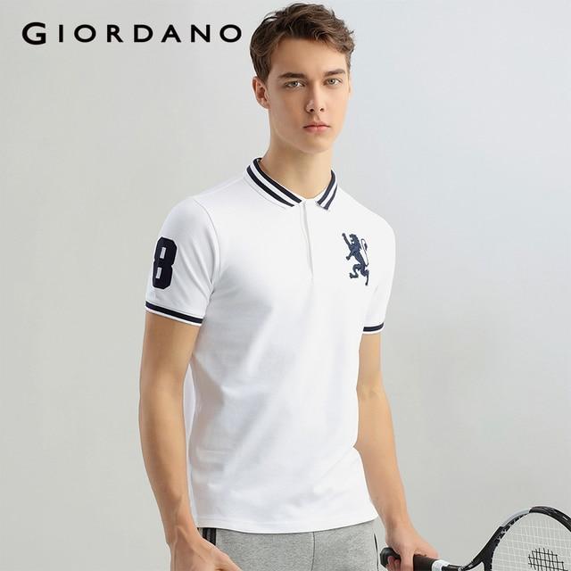 314f5532416f Giordano Men Lion Polo Shirt Spandex Stretchy Polo Men Fashion Summer Mens  Polo Tops Camisa Masculina