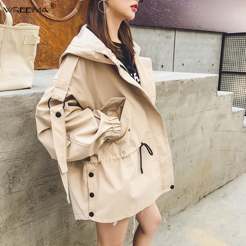 wreeima 2019 spring Autumn Casual   Trench   coat for women Pleated Zipper Hooded Short Windbreaker Female Loose Plus size coat PK36