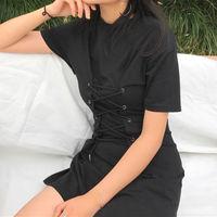 Vintage String Lace Up Sexy Shirt Dress Short Mini Summer Black Dress Petite Robe Femme Vestido
