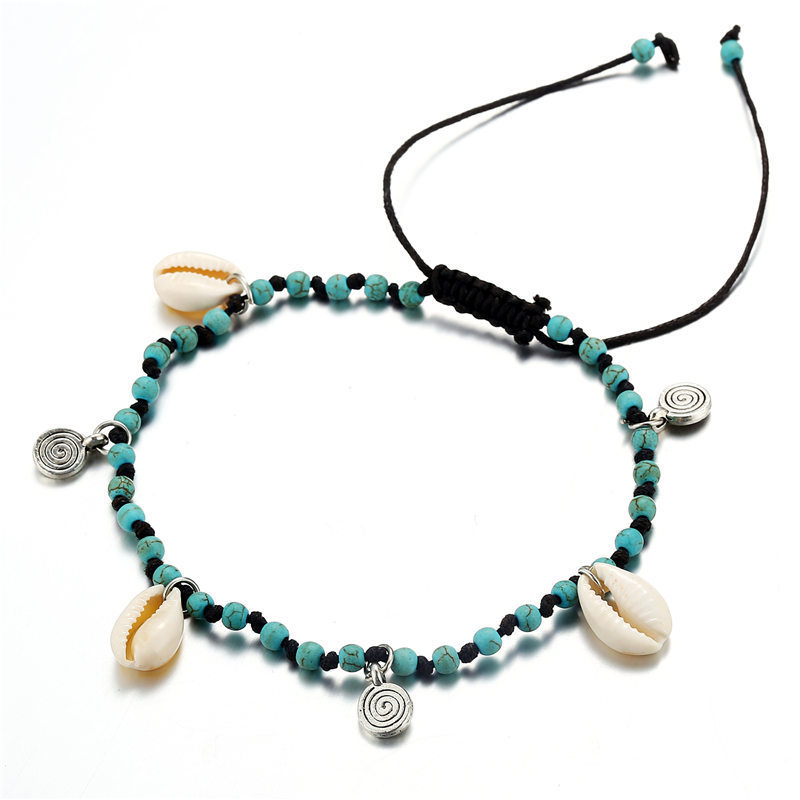 Rinhoo Boho Beach Shell Pendant Anklets Vintage Stone Beads Ankle Bracelet Adjustable Foot Leg Bracelet Foot Jewelry For Women in Anklets from Jewelry Accessories