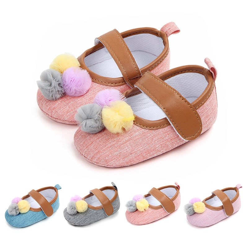 4 Colors Baby Girls Anti-Slip Soft Sole Princess Shoes With Balls Design First Walkers Prewalkers Shoes