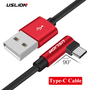 USLION Type-C 90 Degree Fast Charging USB C Cable L Shape Data Cord Charger For Samsung S8 S9 Plus Xiaomi mi5 mi6 Huawei P10 P9 lukmall iphone case