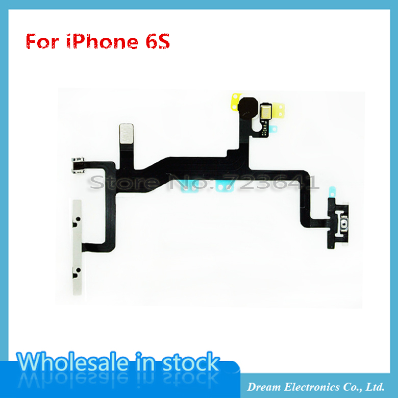 imágenes para 10 unids/lote NUEVO Power On Off Volume Control Mute Flex Cable con micrófono flash len para el iphone 6 s 4.7 ''replacement reparación partes