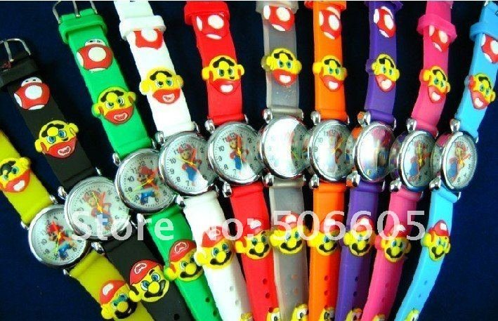Free Shipping 10pcs/lot Wholesale Super Mario Cartoon Watch,3D Quartz Children Kids Factory Price
