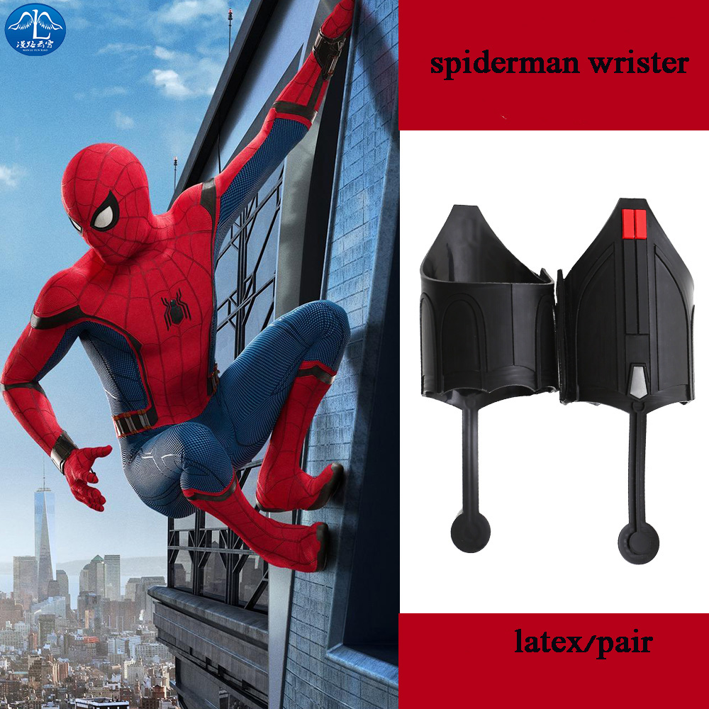 Spider Man <font><b>Web</b></font> <font><b>Shooter</b></font> <font><b>Spider-Man</b></font> Homecoming Cosplay Costume Accessories Halloween Adult Men Spiderman Carnival Props One Pair