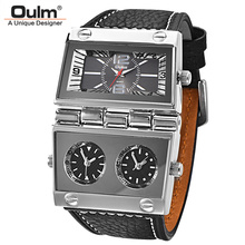 Oulm ثلاثة المنطقة الزمنية 2 بطلب الرياضة ساعات رجالية كبيرة كوارتز ساعة الذكور جلد طبيعي عادية العسكرية ساعة اليد رجل