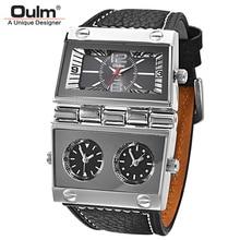 Oulm Three Time Zone 2 циферблаты, спортивные часы, мужские большие кварцевые часы, мужские повседневные военные наручные часы из натуральной кожи