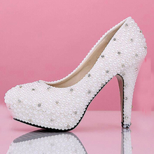 Sparkling Fashion White Imitation Pearl Bridal Dress Shoes Beautiful Wedding Shoes Women High heel party club Shoes