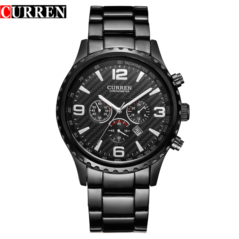 CURREN Brand Men Watches Men Fashion Casual Quartz Watch Sport Full Stainless Steel Auto Date Analog Display Military Clock 2016 curren luxury brand men watches full stainless steel analog display auto date male fashion quartz watch waterproof xfcs clock