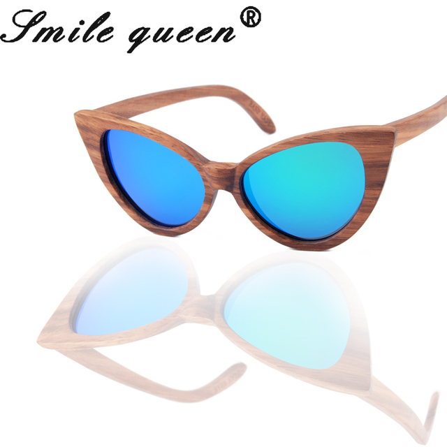 2016 Polarized  Bamboo Sunglasses Cat Eye Wooden Sun Glasses Women Brand Designer  Original Handmade Wood Glasses Oculos De Sol