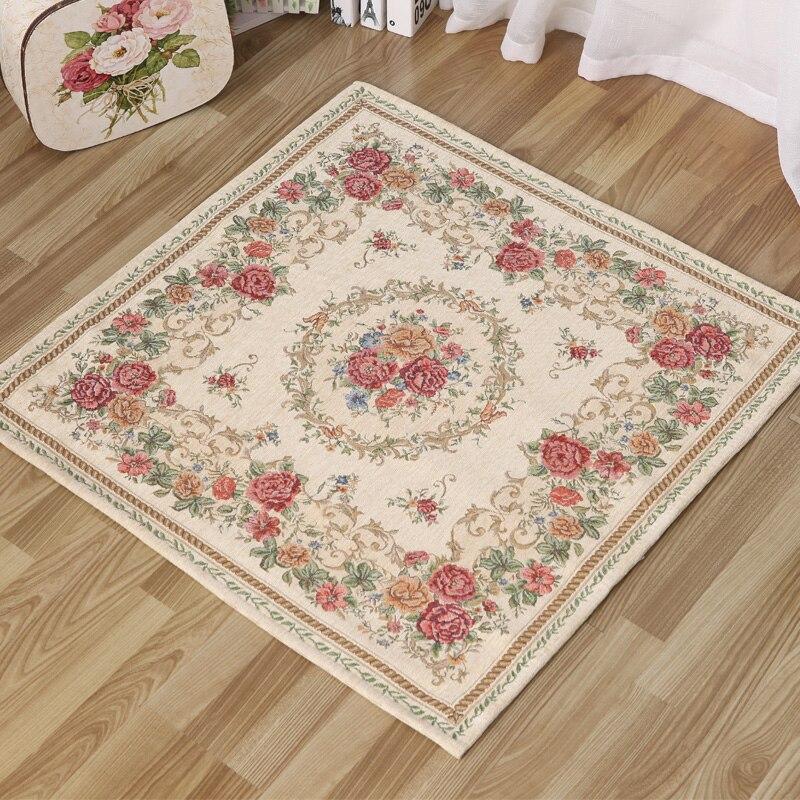 HUAMAO 90*90 cm Europe pastorale Jacquard tapis pour salon ordinateur chaise tapis de sol vestiaire zone tapis chambre tapis