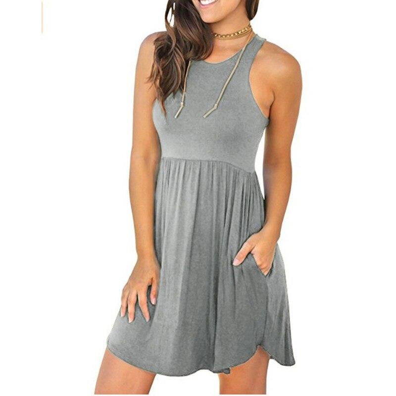 Sexy Mini Dress 2018 Women Sleeveless Summer Beach Vest Dresses High Waist Pockets Solid Ruffle Casual Vestidos Long Tunic Tops