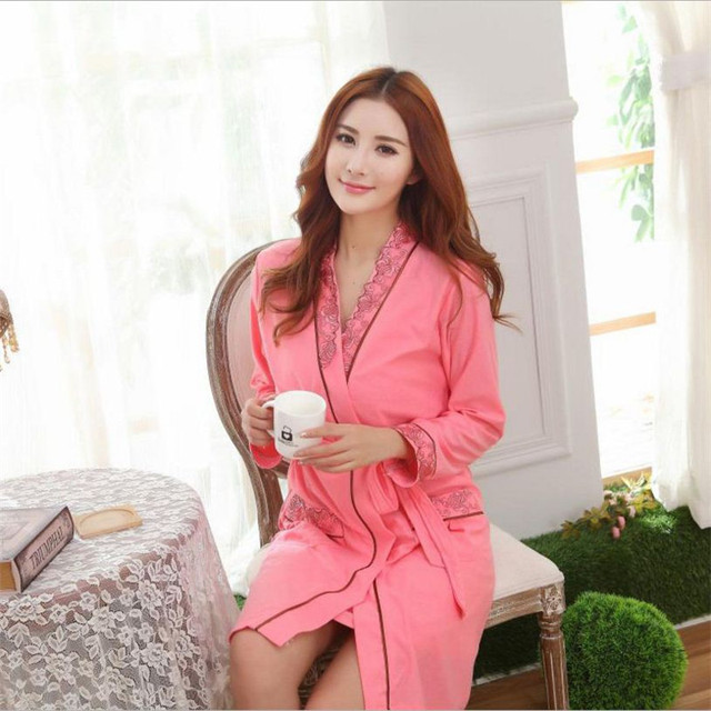 01d1fb761d New Sexy women Robe Sets jacquard weave nightwear indoor silk lace Long  sleeve sleepwear(bathrobe