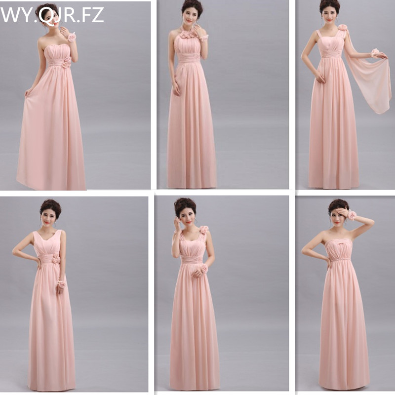 QNZL70#Halter neck Lace Up Chiffon Peach Purple Champagne nude pink   Bridesmaid     Dresses   Long wholesale Custom wedding party   dress
