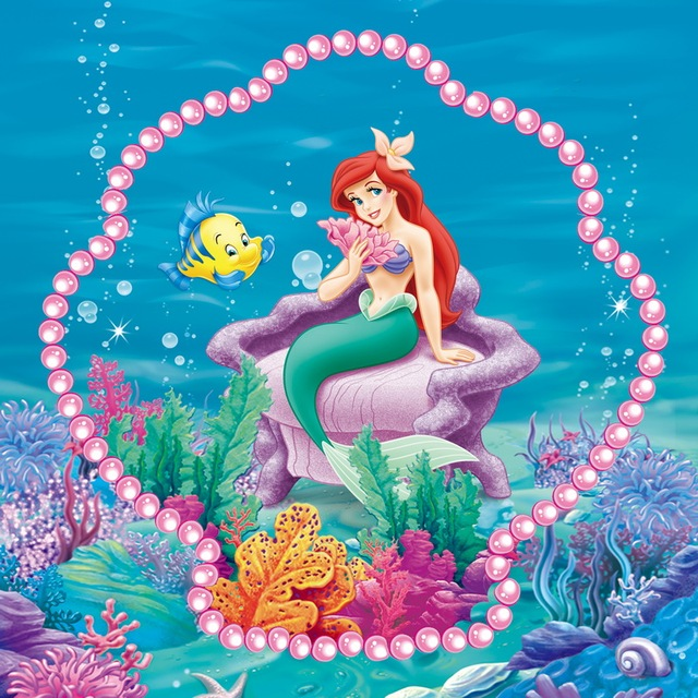 8x8ft Ariel Princess Little Mermaid Coral Reef Sea