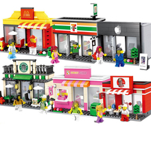 Hsanhe 6409-1-6411-2 6 models Mini street Series store shop Hamburger cellphone ect  irregular building blocks City shop bricks