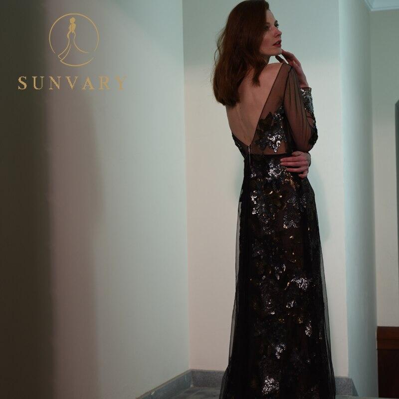 Sunvary Sparkle Cekiny Flower Evening Dress Z długim rękawem Black - Suknie specjalne okazje - Zdjęcie 3