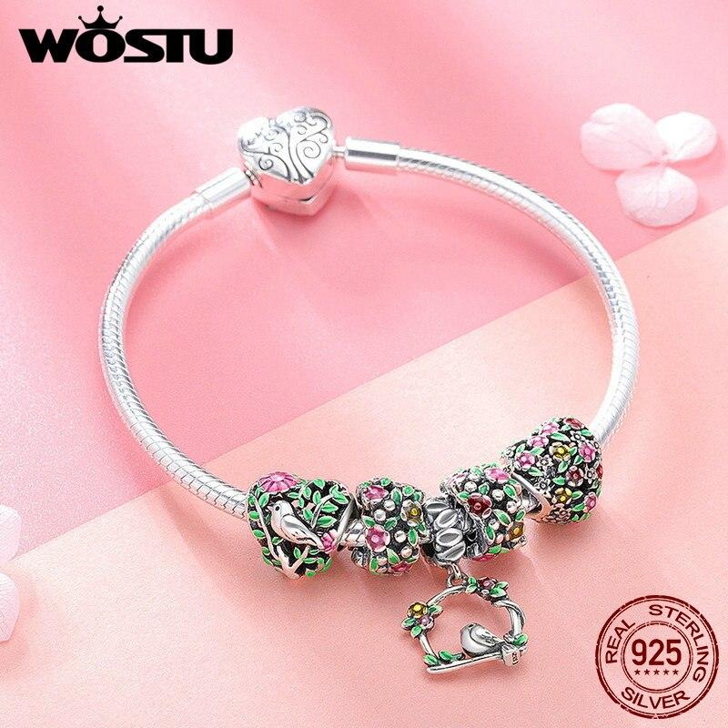 WOSTU Top Vente 925 Sterling Argent Printemps Fleurs, feuilles et Oiseau Charme Bracelet Pour Les Femmes Marque De Mode Perle Bijoux Cadeau CQB804 - 5