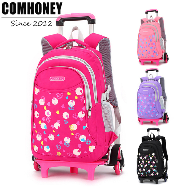 Girls Rolling School Backpacks Cute Heart Print Style Children Trolley School Bags 6 Wheels Kids Wheeled Backpack Mochila
