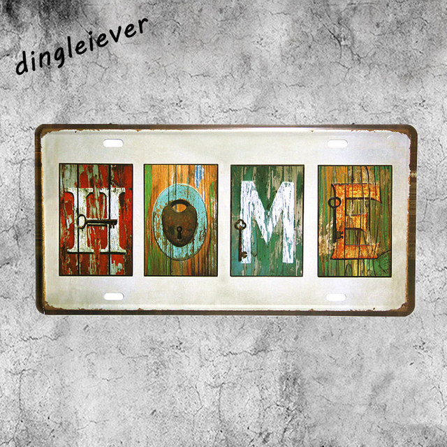 Home Word Sign License Plate Vintage Metal Sign Coffee Bar Decor