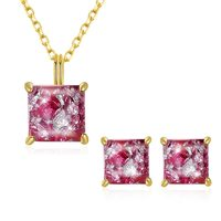 Red 925 Sterling Silver Pendant Necklace Earring Jewelry Set