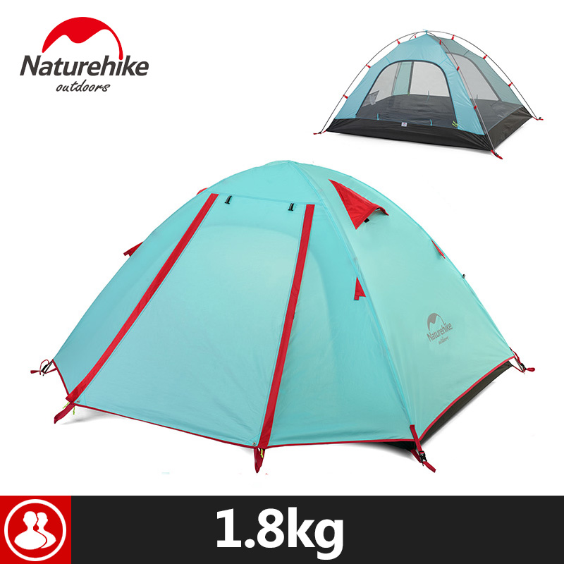 Naturehike Portable Outdoor Tent For 2 Person 3 Season  Rainproof Double Layer 5 Colors Aluminum Pole Camping Tent 210x135x110cm naturehike 3 person camping tent 20d 210t fabric waterproof double layer one bedroom 3 season aluminum rod outdoor camp tent