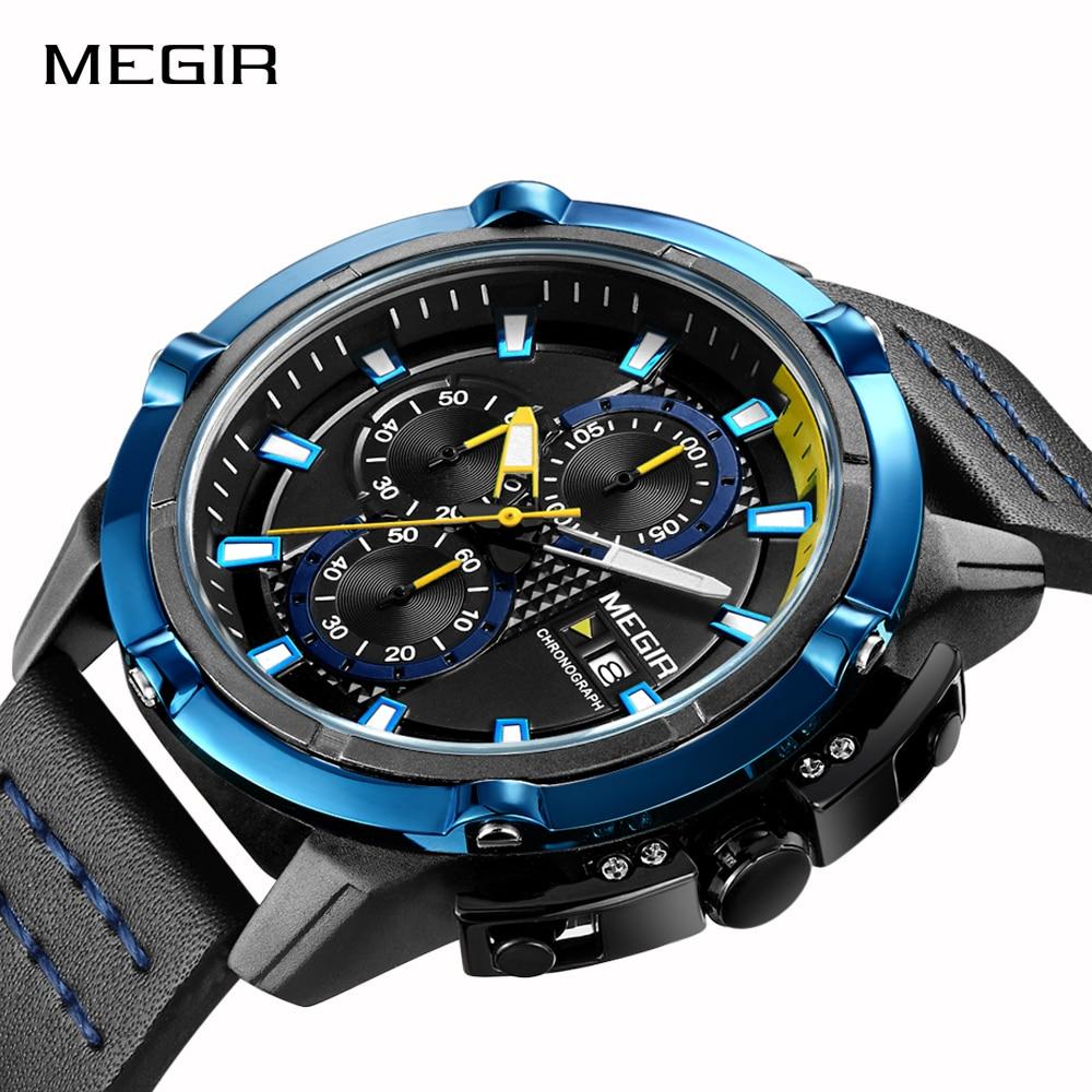 купить MEGIR Men Quartz Sport Watch Relogio Masculino Chronograph Military Army Watches Clock Men Top Brand Luxury Creative Watch Men по цене 1600.66 рублей
