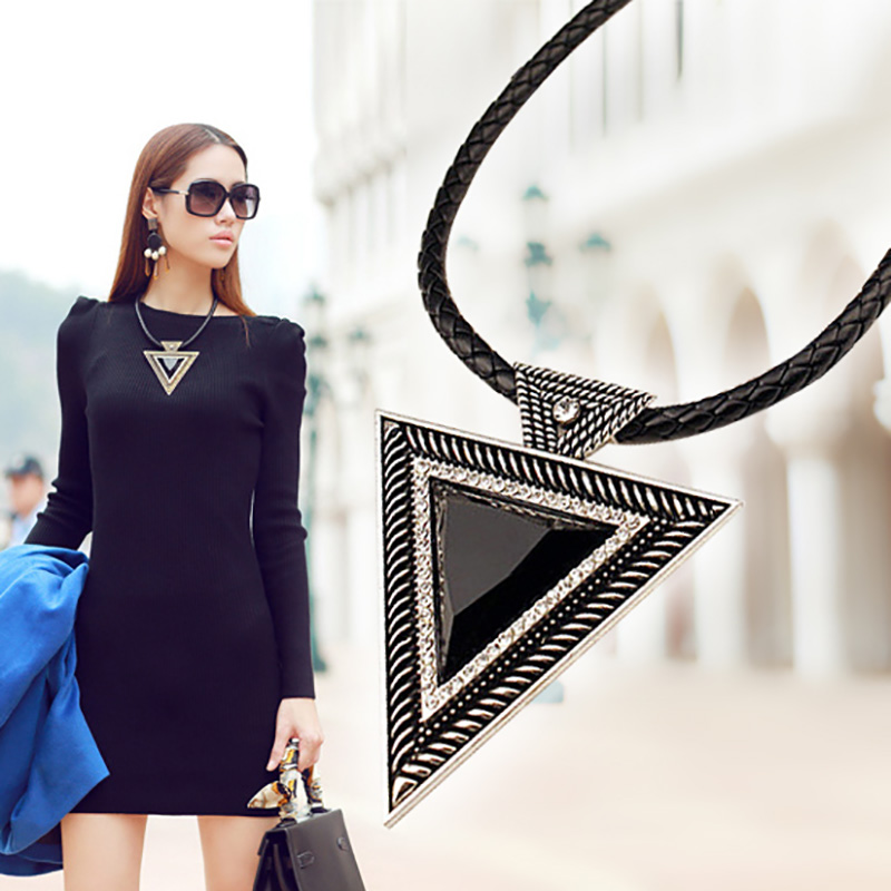 YAAYOO Vintage Jewelry Maxi Big Triangle Pendants Leather Chain Resin Crystal Statement Necklace For Lady Gifts NL065