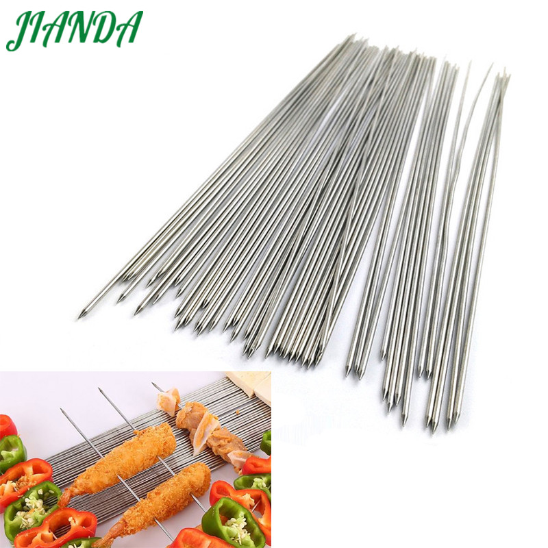 JIANDA 20pcs(Buy 20 get free 2) Stainless Steel Barbecue Grilling BBQ Needles Sticks Skewers Silver Kitchen Accessories 2 Sizes