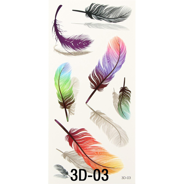 1PCS Colorful Small Feathers Wings Fake Tattoo Paste Women Stencil Tattoo Transfer 3D Temporary Tattoos Sticker For Body Art